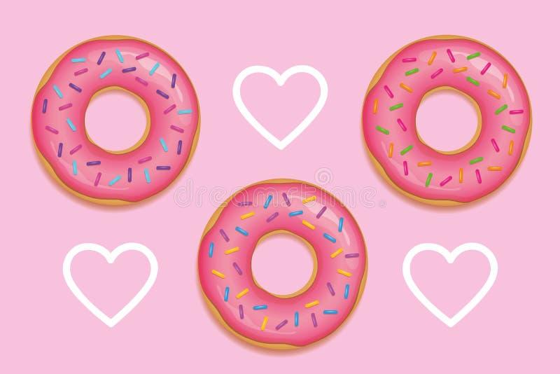 Tre guarnizioni di gomma piuma rosa con lo zucchero variopinto spruzza illustrazione vettoriale