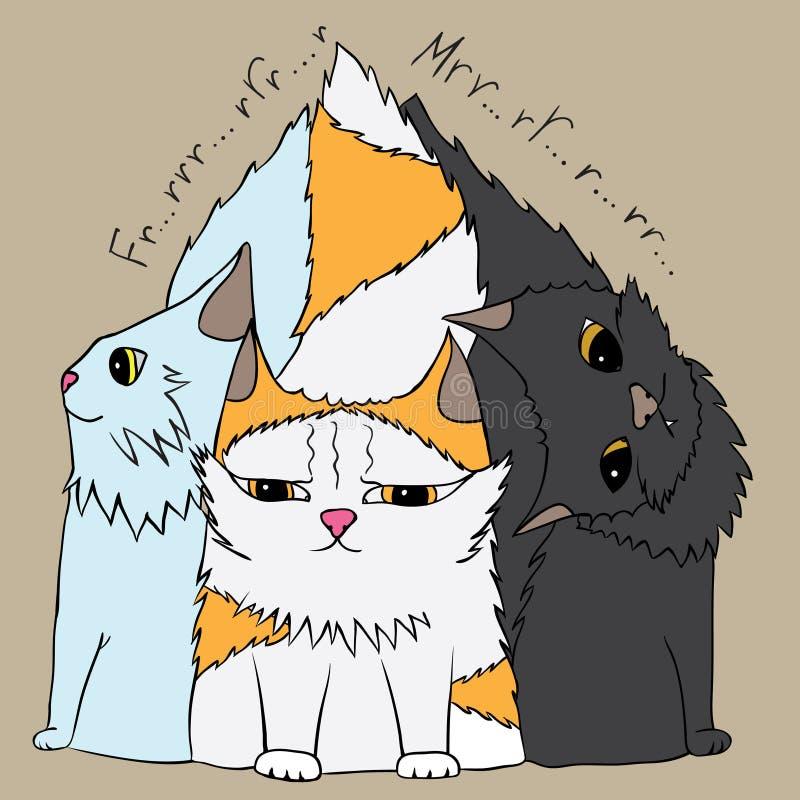 Tre gulliga katter stock illustrationer