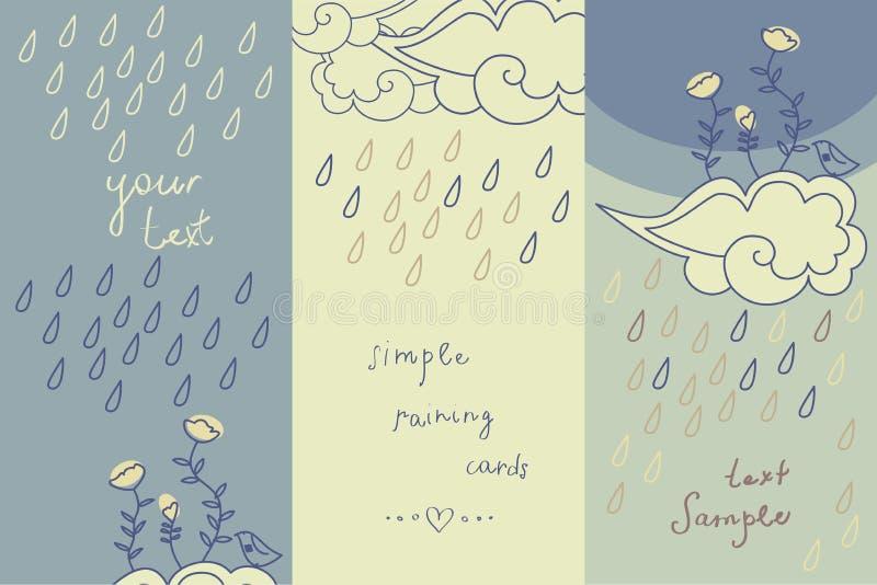 Tre gulliga kort för regnigt väder vektor illustrationer