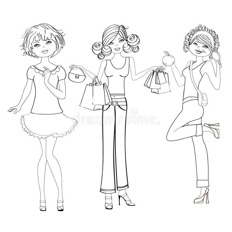 Tre gulliga modeflickor som är svartvita   vektor illustrationer