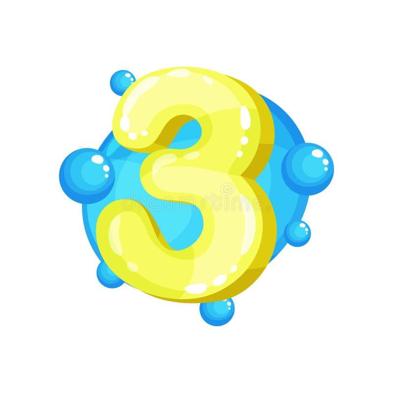 Tre gult glansigt ljust nummer, illustration för ungestilsortsvektor på en vit bakgrund stock illustrationer
