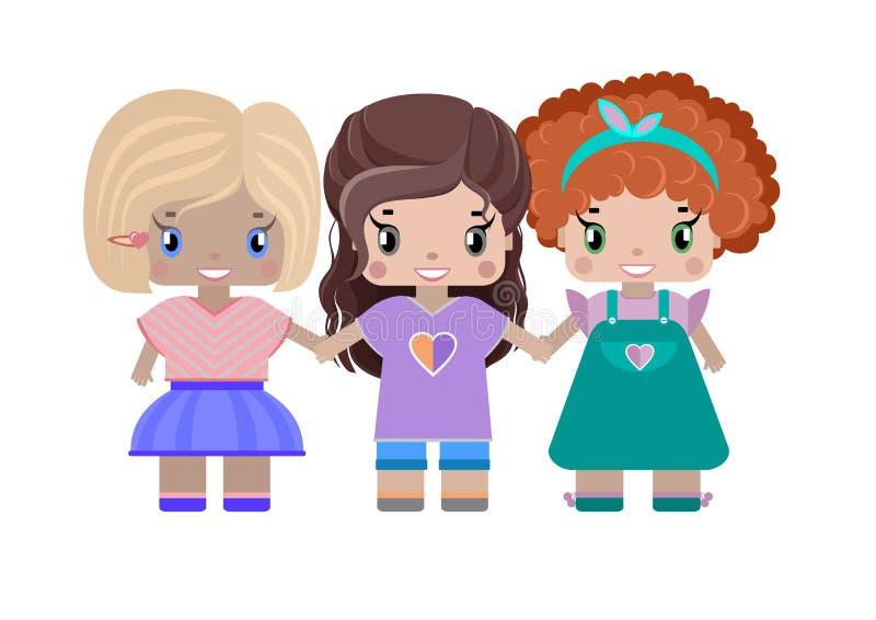 Tre händer för flickaflickvänhåll vektor illustrationer