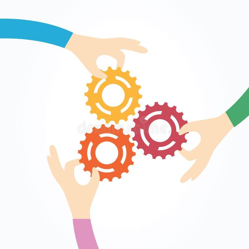 Tre händer som tillsammans rymmer kugghjul vektor illustrationer