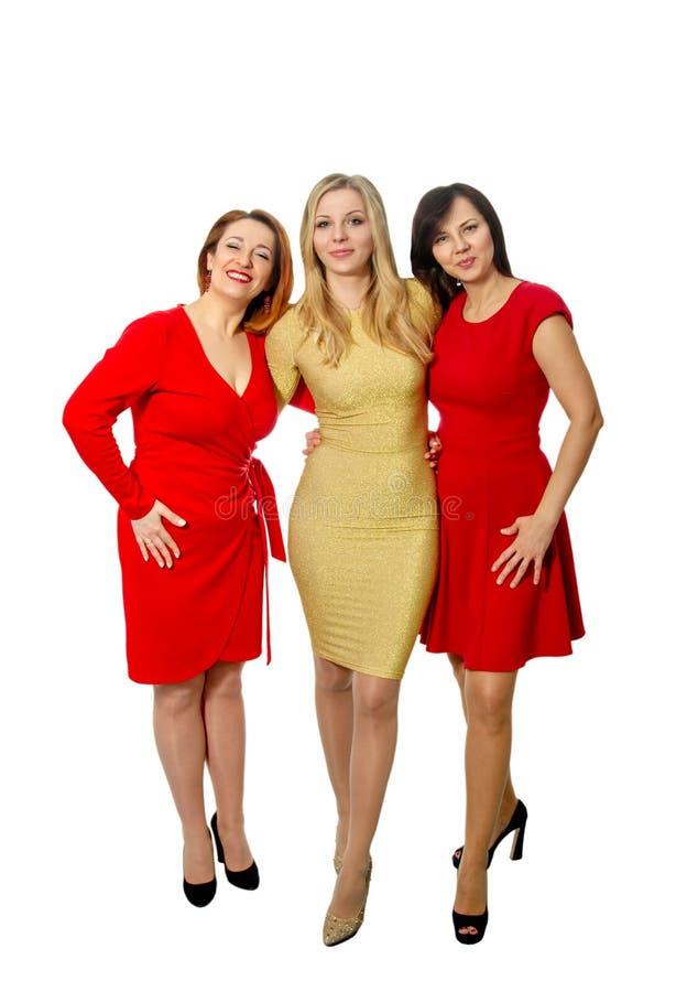 Tre härliga flickvänner i eleganta klänningar royaltyfri foto