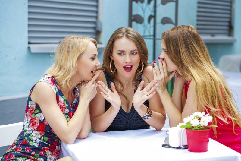 Tre härliga flickvänner som skvallrar kvinnasammanträde på en tabell I arkivbilder