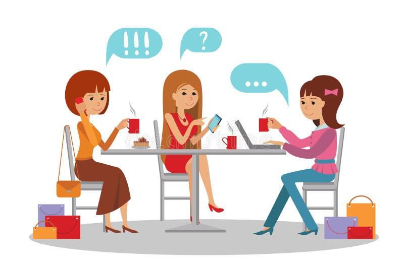 Tre härliga kvinnor som talar på coffee shop, medan dricka stock illustrationer