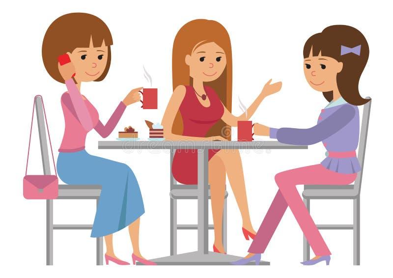 Tre härliga kvinnor som talar på coffee shop, medan dricka varmt kaffe vektor illustrationer