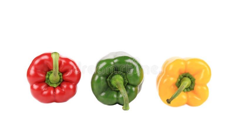 Tre härliga spanska peppar royaltyfria foton