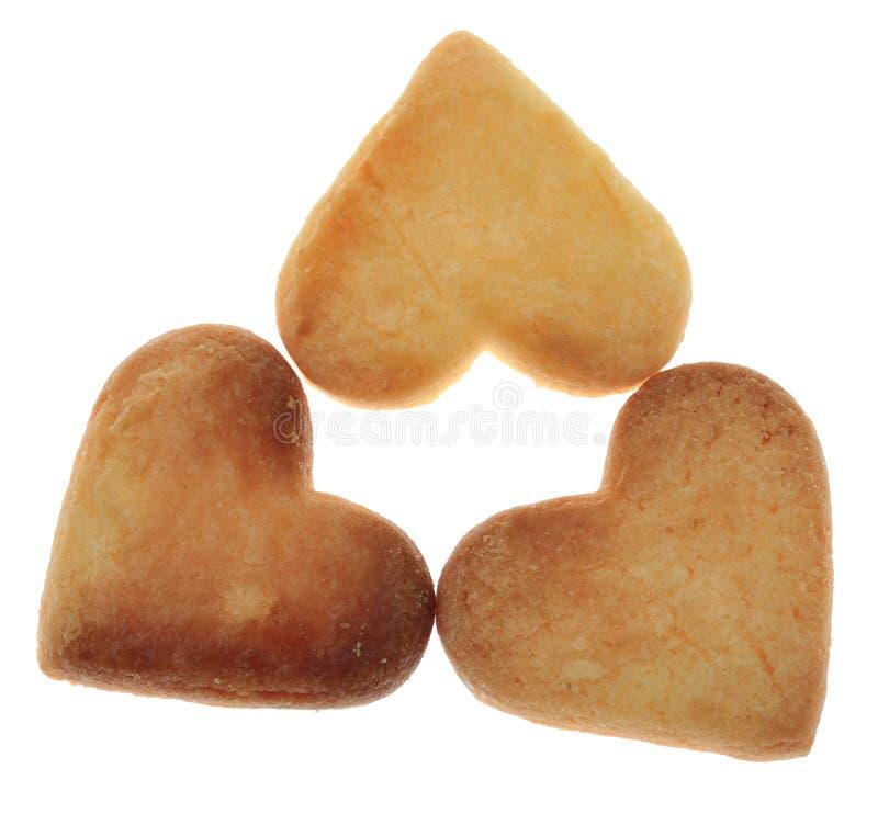Tre Hjärta-Formade kakor arkivbild