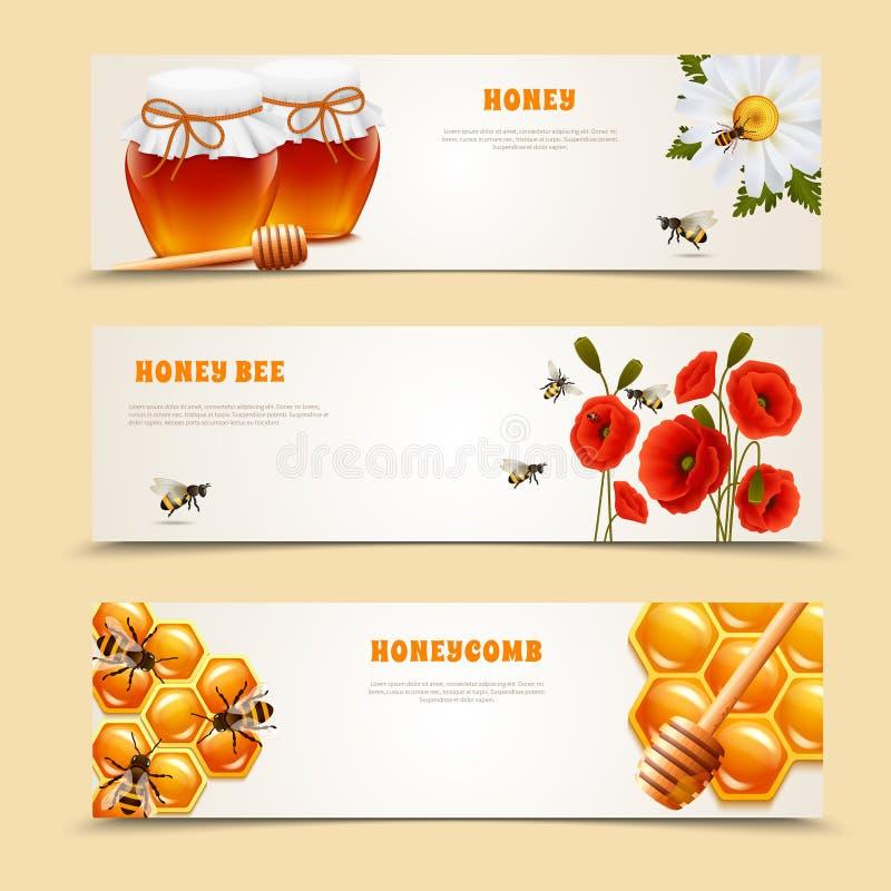 Tre Honey Banner Set royaltyfri illustrationer