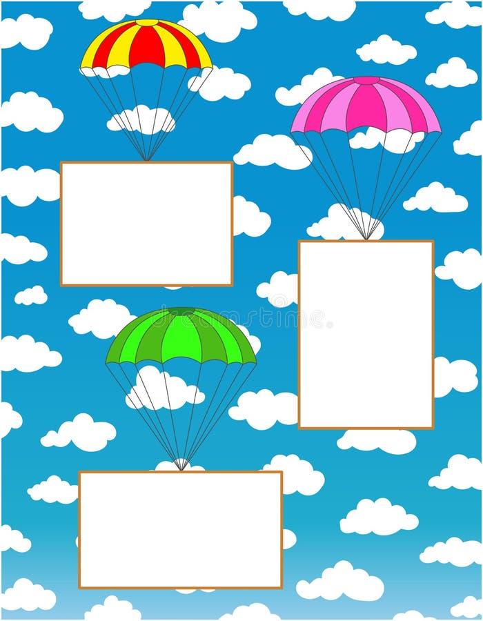 Tre hoppa fallskärm med vitbokark för text royaltyfri illustrationer