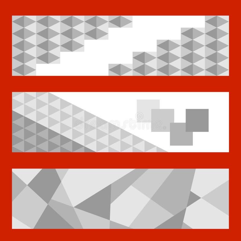 Tre horisontalbaner med gråa trianglar Abstrakta baner av gråa trianglar royaltyfri illustrationer