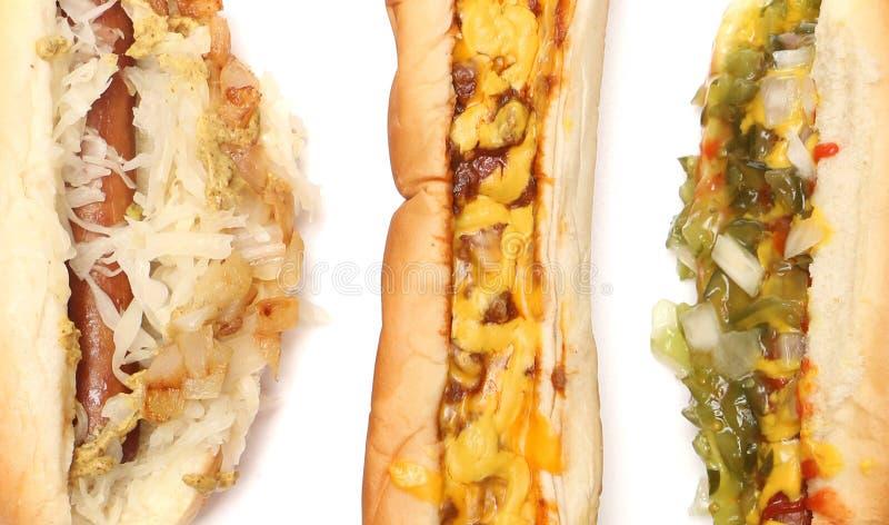 Tre Hotdogs royaltyfria bilder