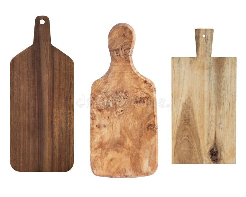 Tre hugga av kökträbräden som isoleras på vit bakgrund arkivfoton