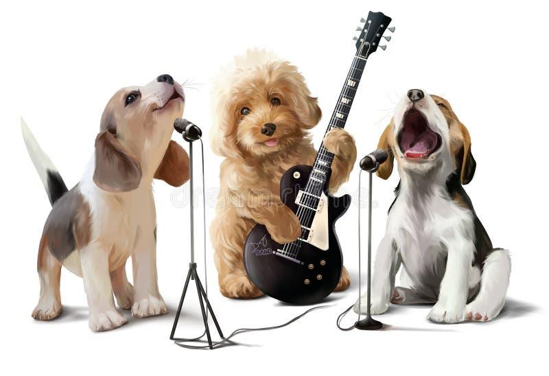 Tre hundkapplöpningmusiker stock illustrationer