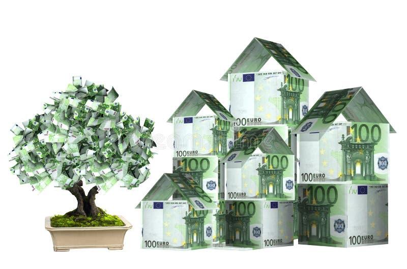 Tre hus från eurosedlar och pengarträd stock illustrationer