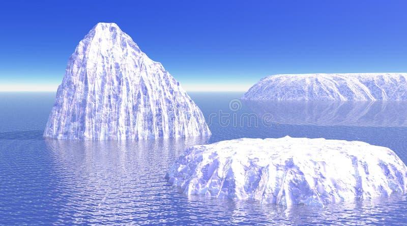Tre iceberg in oceano royalty illustrazione gratis