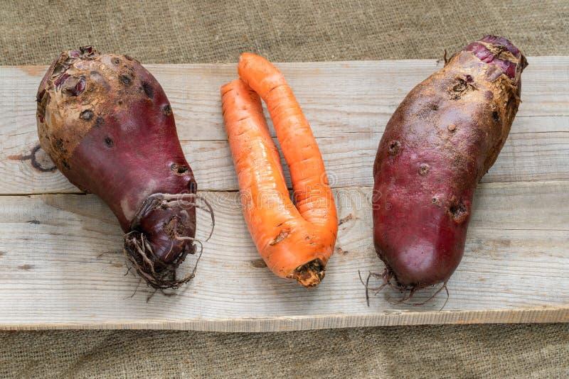 Tre icke-standard fula grönsaker ligger på gråa träplankor på säckväv royaltyfri fotografi