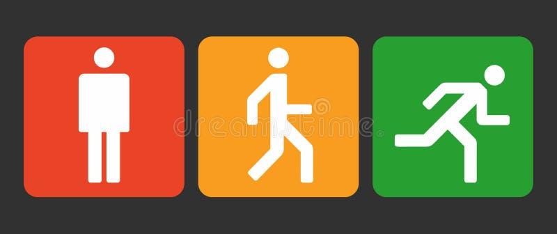 Tre icone degli stati del corpo umano posizionano, segni stanno, della passeggiata e di funzionamento, simbolo astratto semplice  illustrazione di stock