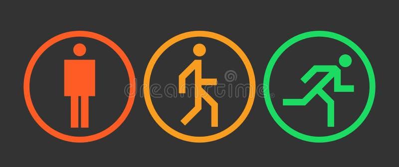 Tre icone degli stati del corpo umano posizionano, segni stanno, della passeggiata e di funzionamento, simbolo astratto semplice  illustrazione vettoriale
