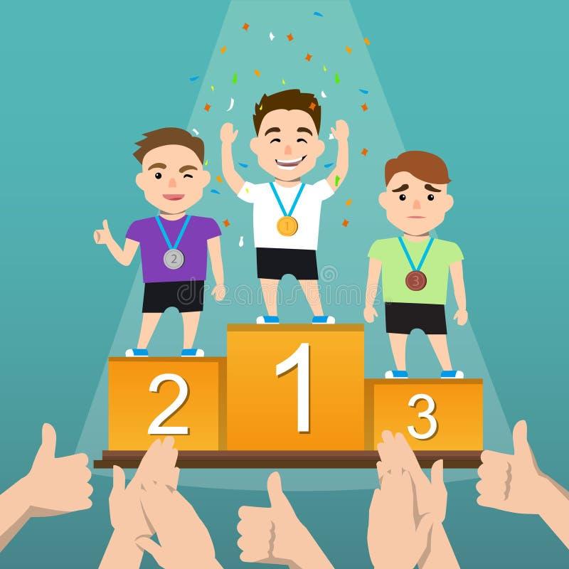 Tre idrottsman nen med medaljer på en sockel stock illustrationer