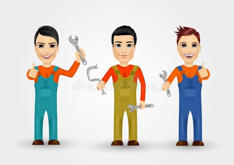 Tre iklädda arbetskläder för unga rörmokare vektor illustrationer