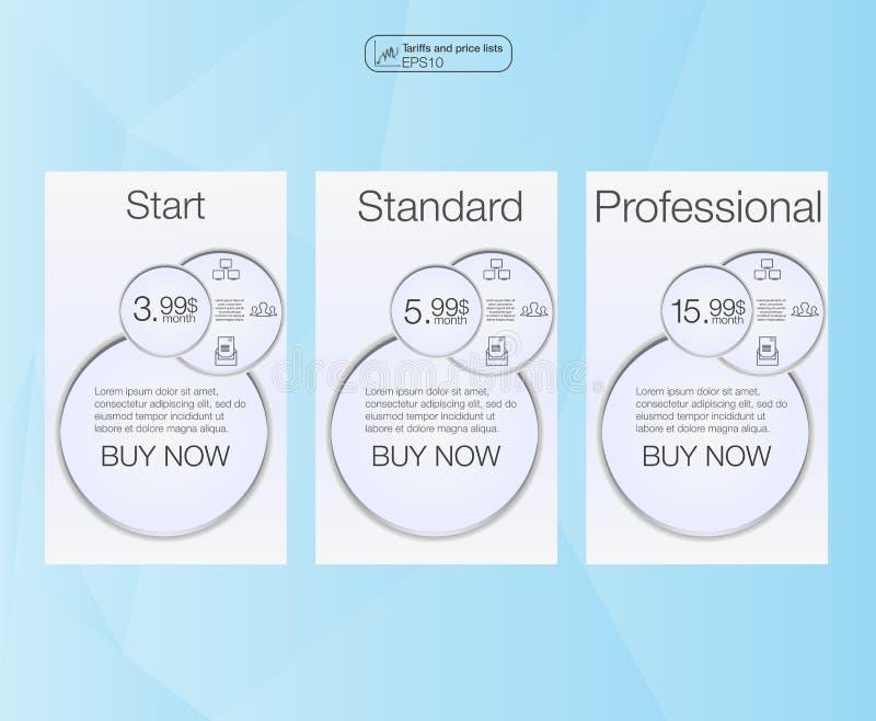 Tre insegna, listino prezzi, interfaccia per il sito insegna di vettore per il web app posizione 3 Tre Tabelle di valutazione di  illustrazione di stock