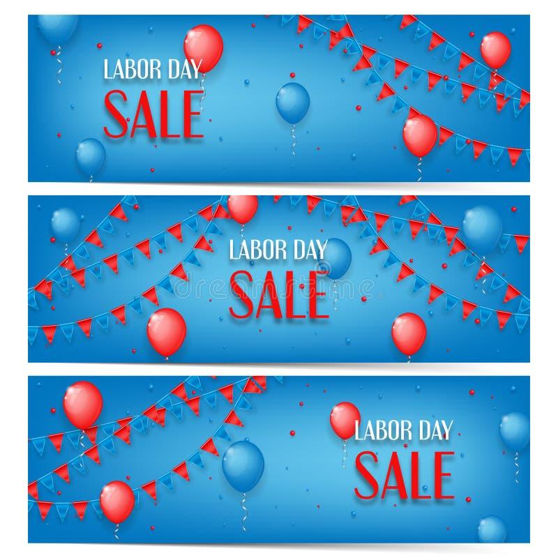 Tre insegne della vendita di festa del lavoro illustrazione di stock