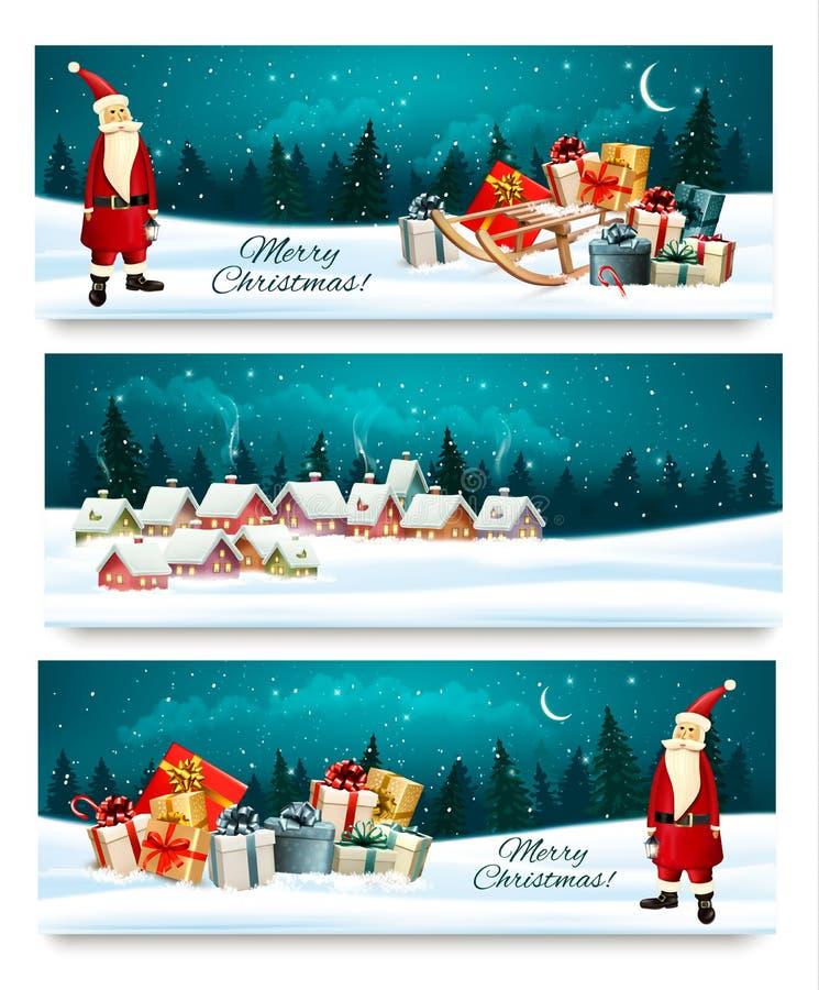 Tre insegne di Natale di festa con i contenitori di regalo illustrazione di stock