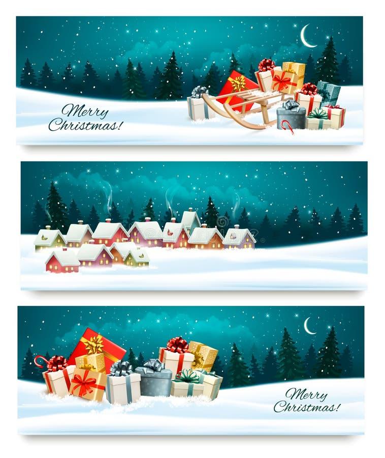 Tre insegne festive di Natale con i paesaggi ed i contenitori di regalo illustrazione di stock