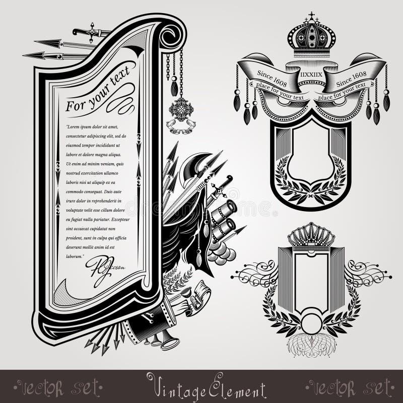 Tre insegne o etichette militari dell'incisione di stile con le armi d'annata illustrazione di stock