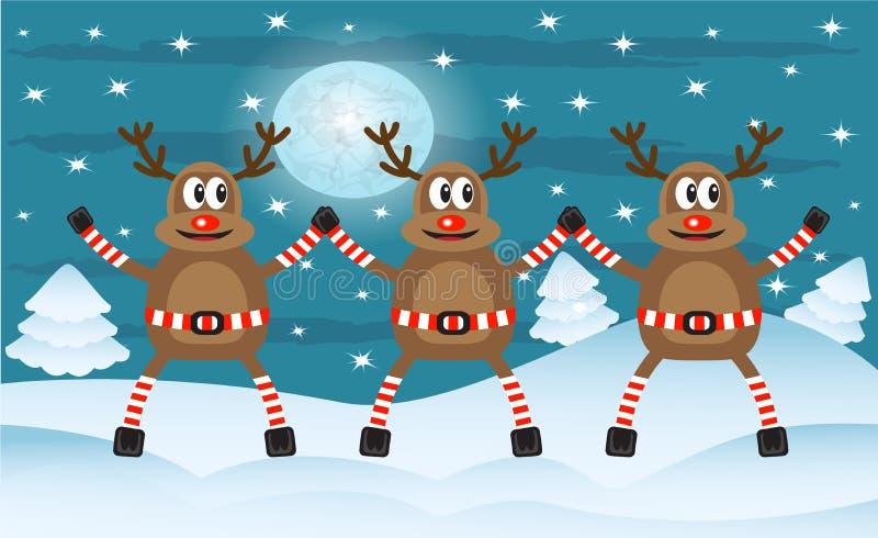 Tre julhjortar stock illustrationer