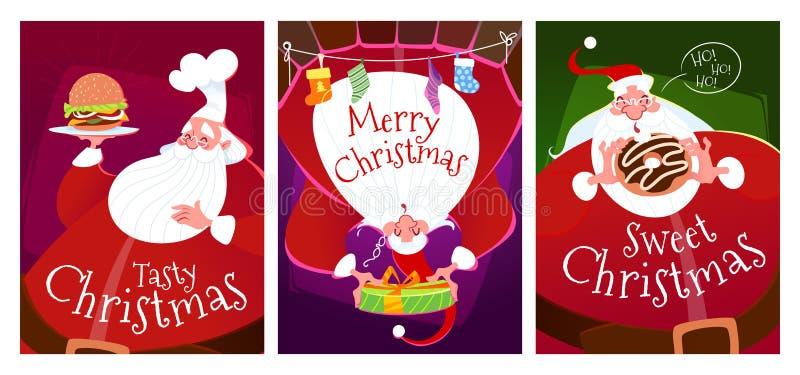 Tre julkort med Santa Claus royaltyfri illustrationer