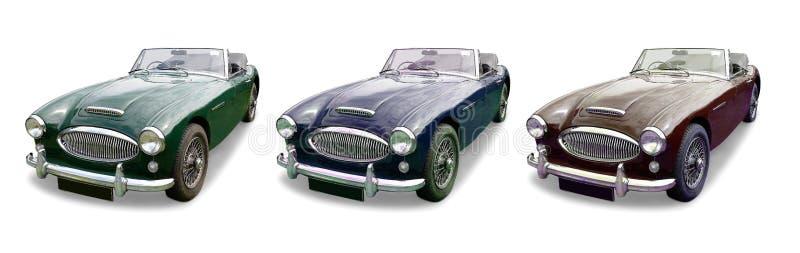 Tre klassiska MG sportbilar royaltyfria foton
