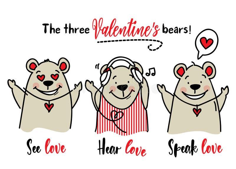 Tre kloka björnar för materiel för valentindagvektor/ser förälskelse, hör förälskelse och att tala det idérika begreppet för förä vektor illustrationer