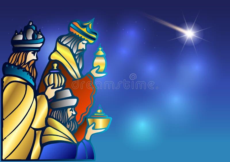 Tre kloka män besöker Jesus Christ efter hans födelse royaltyfri illustrationer