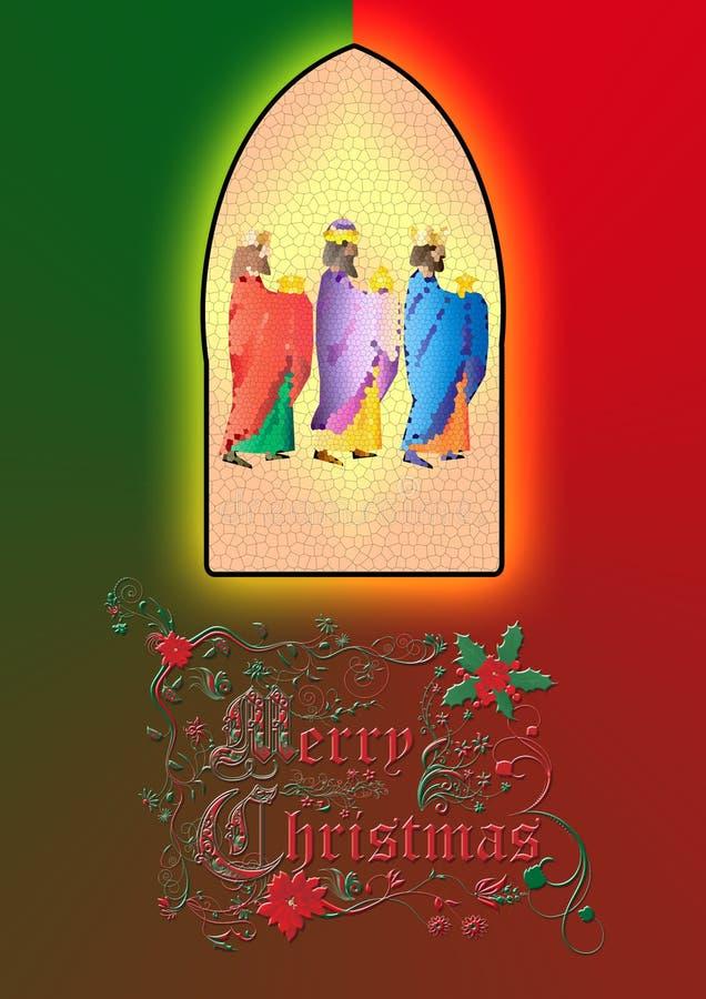 tre kloka män eller tre konungar Kristi födelseillustration stock illustrationer