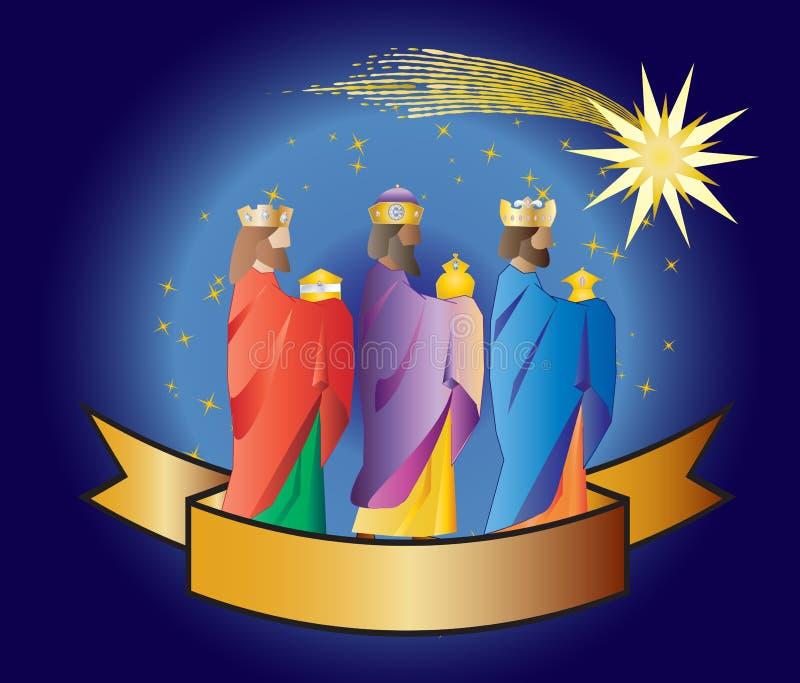 tre kloka män eller tre konungar Kristi födelseillustrationjul c royaltyfria foton