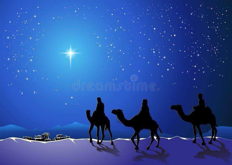 Tre kloka män går för stjärnan av Betlehem stock illustrationer