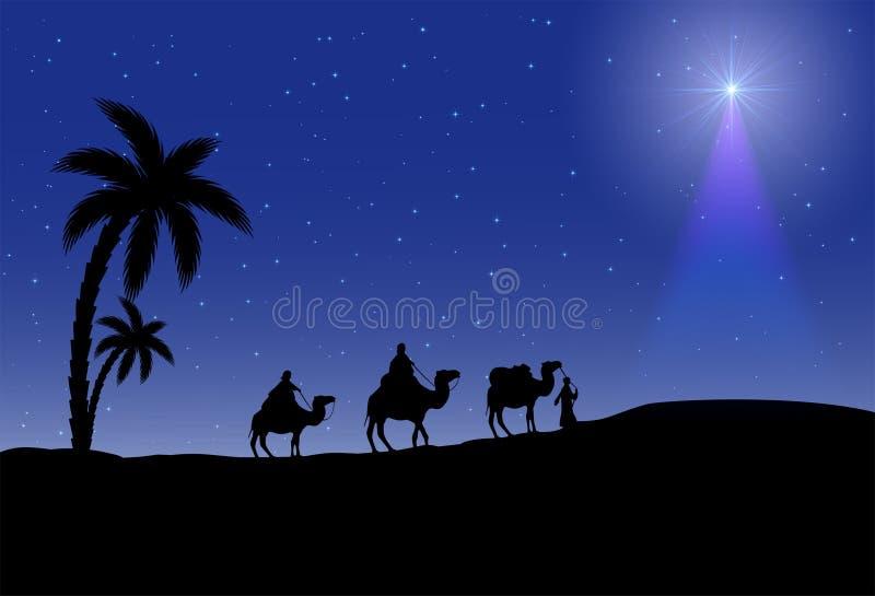 Tre kloka män och julstjärna vektor illustrationer