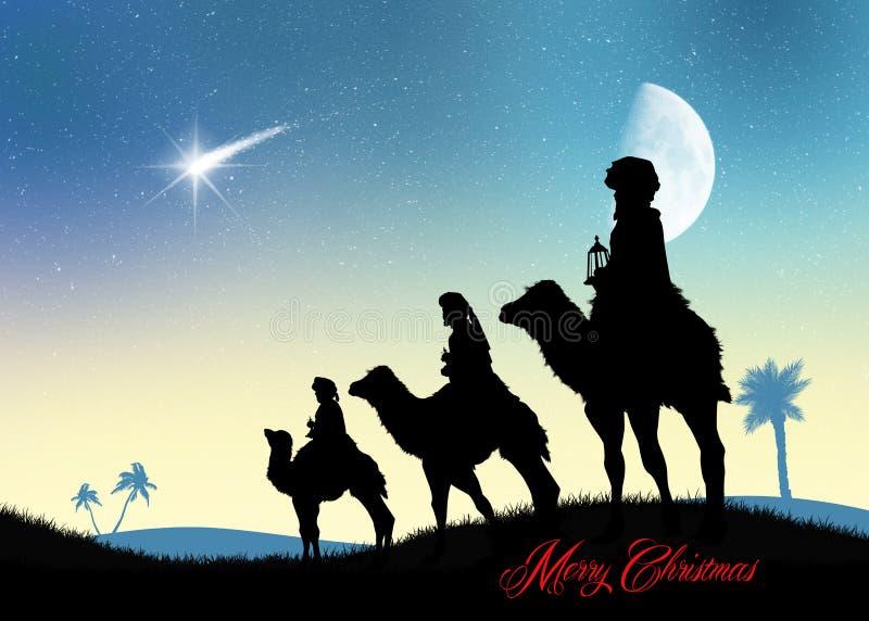 Tre kloka män på kamel i öknen stock illustrationer