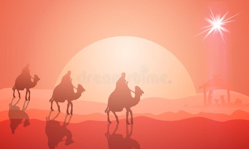 Tre kloka män på kamel till Jesus vektor illustrationer