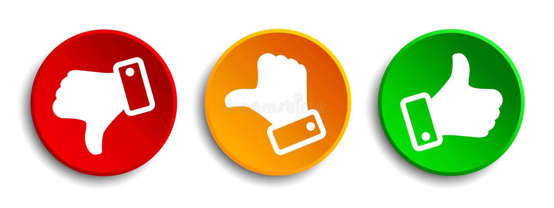 Tre knapp med vita värderingtummar - vektor royaltyfri illustrationer