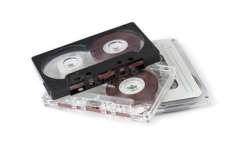 Tre kompakta kassetter arkivbild