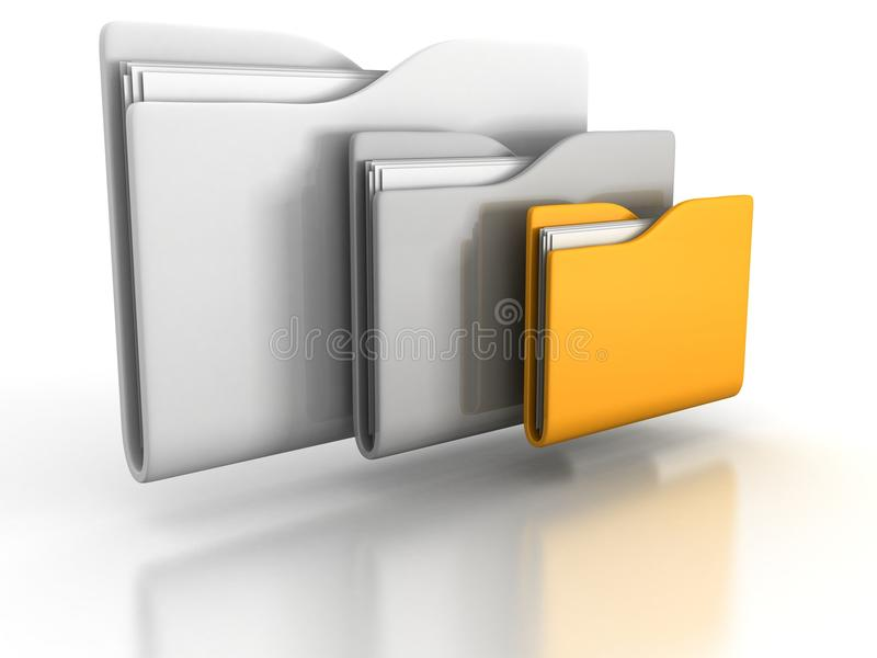Tre kontorsmappar med papper på white vektor illustrationer
