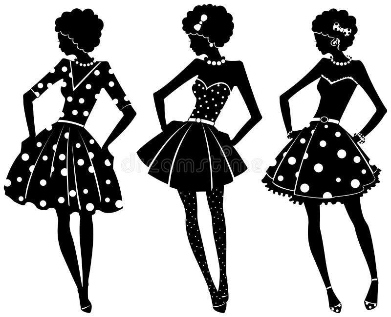 Tre konturer av kvinnor stock illustrationer