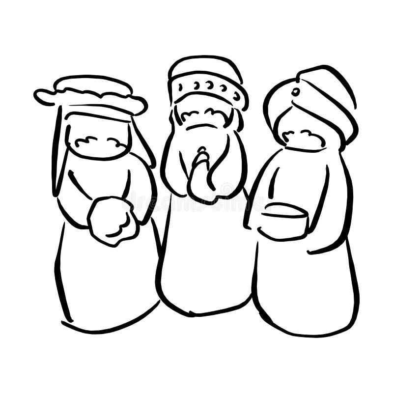 Tre konungar av illustrationen sk för vektor för Betlehem Kristi födelsebegrepp royaltyfri illustrationer