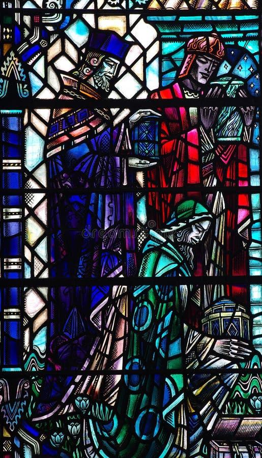 Tre konungar med gåvor i målat glass royaltyfri illustrationer