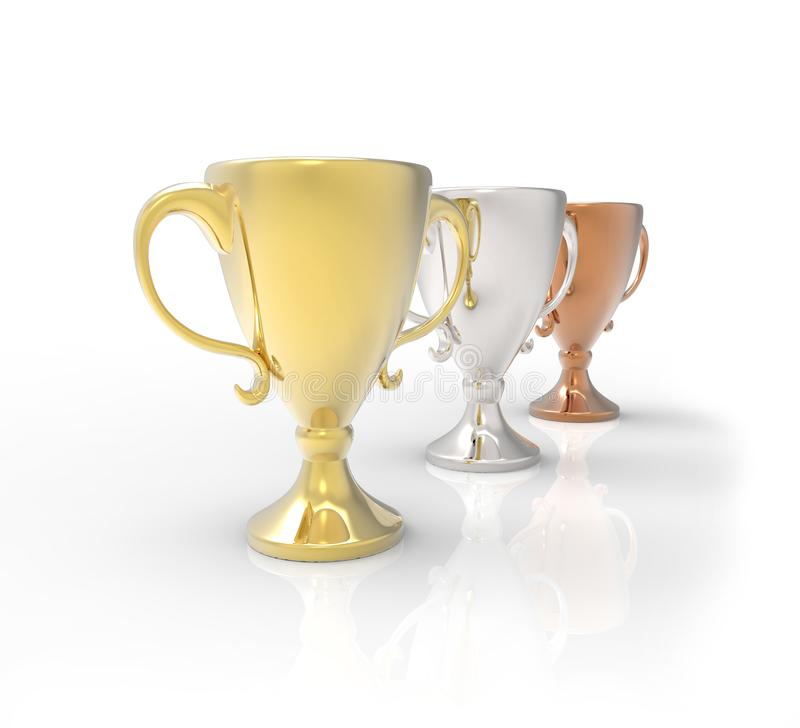 Tre kopptroféer, guld, silver och brons vektor illustrationer
