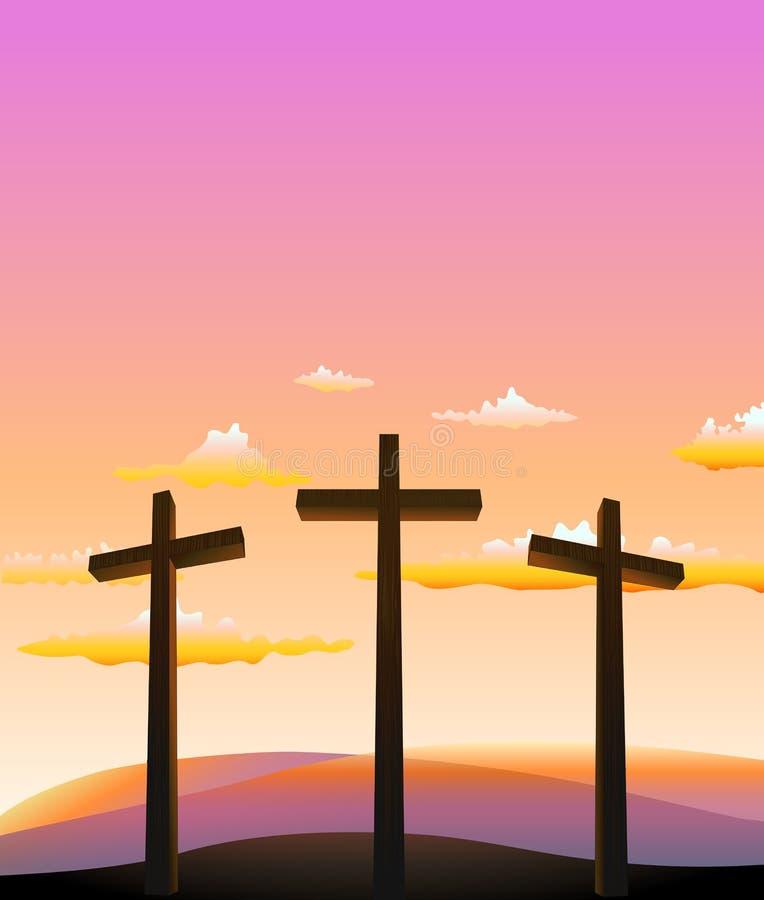 Tre kors på calvaryen royaltyfri illustrationer